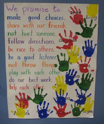 "Our Promise To Each Other... Great Social Contract. To make it official, students put their ""I promise"" hand print on the poster. Older students could also sign their hand."