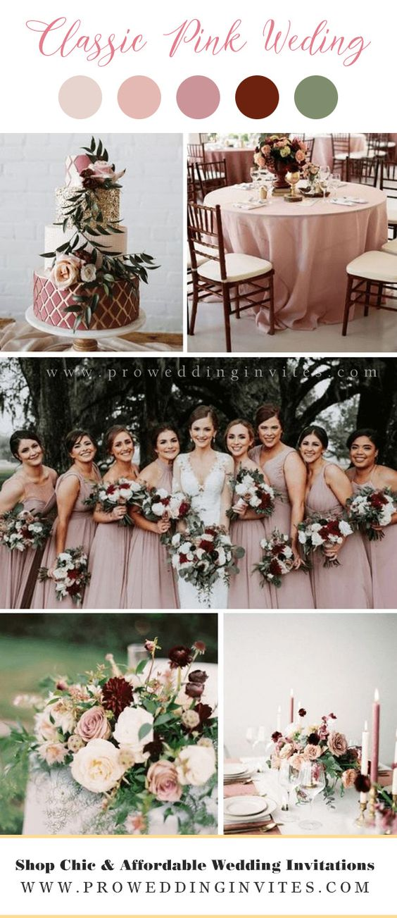 Burgundy + Peach Fall Wedding Color Palettes with Matched Wedding Invitations