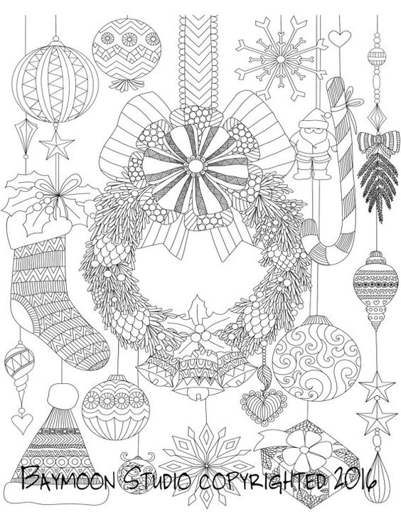 Hanging Christmas Wreath Coloring Page Printable Coloring Pages Adult Coloring Pages Digital