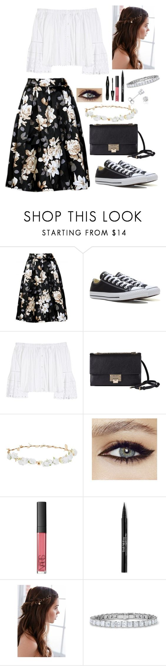 """""""Floral"""" by brooklynslayer ❤ liked on Polyvore featuring Converse, Carolina Herrera, Jimmy Choo, Design Lab, Lancôme, NARS Cosmetics, Trish McEvoy, REGALROSE, Amanda Rose Collection and Floralskirts"""