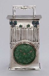'THE MAGNUS', AN ENAMELED SILVER CLOCK  ARCHIBALD KNOX, FOR LIBERTY & CO., 1902