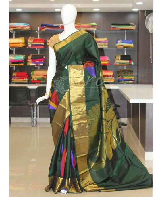 Green Pure Designer Kanchipuram Silk Saree in Rich Pallu