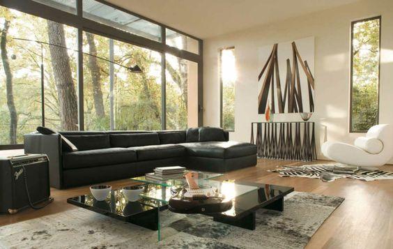 Ein schwarzes Sofa mit Naturtönen kombinieren Wohnideen - auffallige wohnzimmer einrichtung frischekick