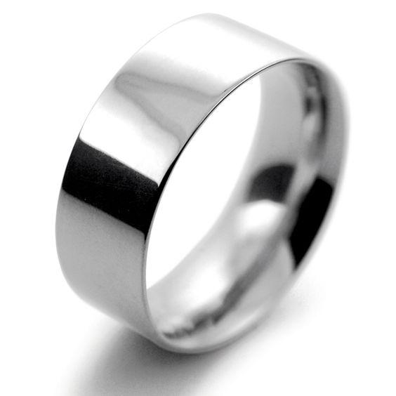 Palladium Wedding Ring Flat Court Medium - 8mm