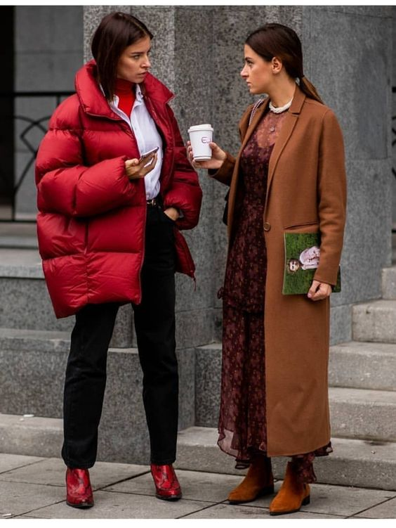 Puffer coat and long rusty coat #winter #streetstyle #outfit
