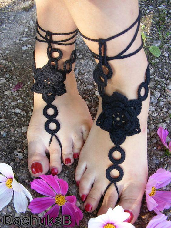 Negro Crochet sandalias pies descalzos zapatos Nude por DachuksB