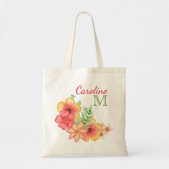 Shopping Bag Personalized Watercolor Floral Tote Bag Book Tote Bag Travel Bag Flower Bag Floral Bag Reusable Tote Bag Market Bag