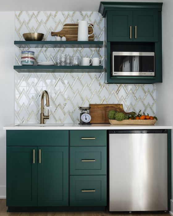 Hunter Green Cabinets Gold And Marble Zig Zag Backsplash Gold
