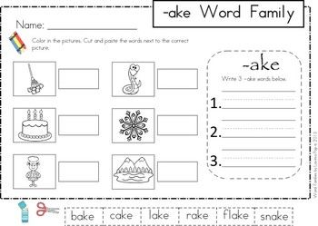 AKE Word Family Games-Activities-Worksheets | Family Units, Word ...