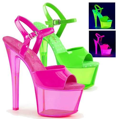 Pleaser CRYSTALIZE-308PS Women/'s Clear Neon Icy Pink Platform Ankle Strap Sandal