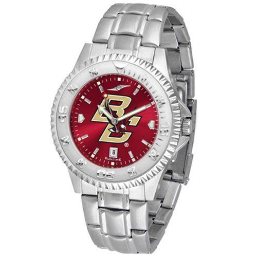"""Boston College Golden Eagles NCAA Anochrome """"Competitor"""" Mens Watch (Steel Band) by SunTime. $93.99. Calendar Date Function. Color Coordinated. Rotating Bezel. Showcase the hottest design in watches today! The functional rotating bezel is color-coordinated to compliment your favorite team logo. The Competitor Steel utilizes an attractive and secure stainless steel band. The AnoChrome dial option increases the visual impact of any watch with a stunning radial reflection similar t..."""