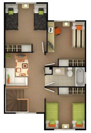 Plano Casa De 4 Dormitorios Y 3 Banos De Mas De 100 M2 Casa De 4 Dormitorios Plano Casa 2 Pisos Planos De Segundo Piso