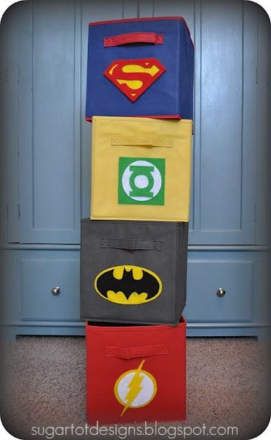 Superhero storage bins. Great idea for boys' rooms!