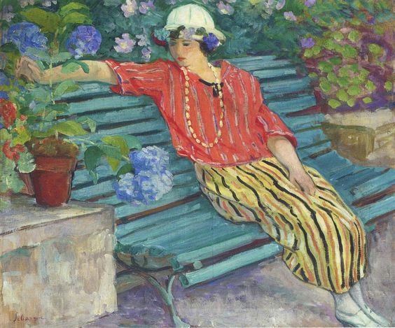 labellefilleart:  Young Woman Seated with Hydrangeas, Henri Lebasque