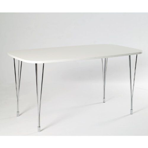 WorldStores Designa 138cm Dining Table In White Chrome