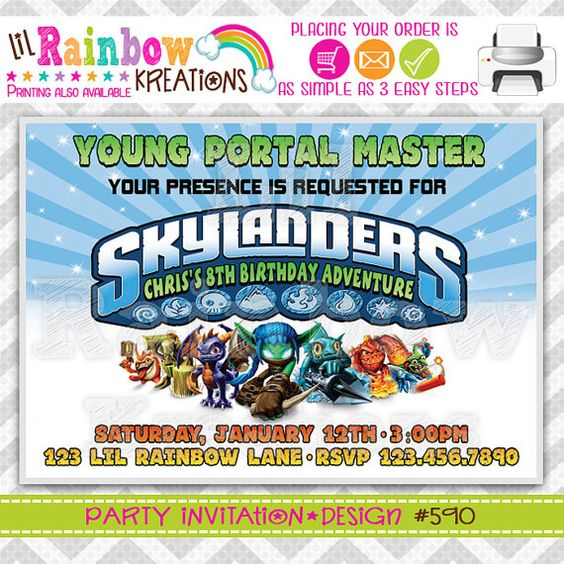 590 DIY Skylanders Party Invitation Or Thank by LilRbwKreations