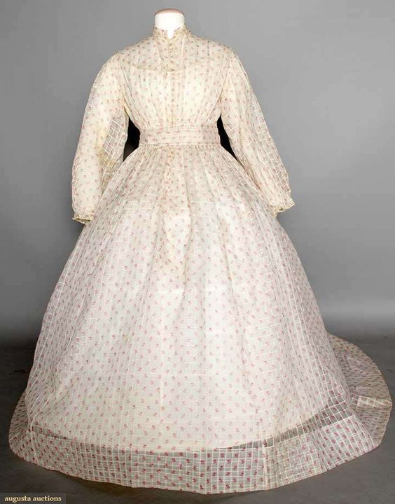 PRINTED DIMITY DAY DRESS, 1860s 1-piece, white, windowpane-woven w/ small red flower print, self fabric belt, trained skirt.