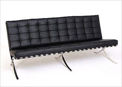 Mies Style Exhibition Sofa Premium Black Leather Modern Leather Sofa Office Design Inspiration Iconic Chairs