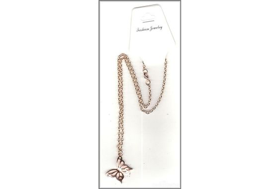Butterfly Charm on Rose Gold Plate Necklace