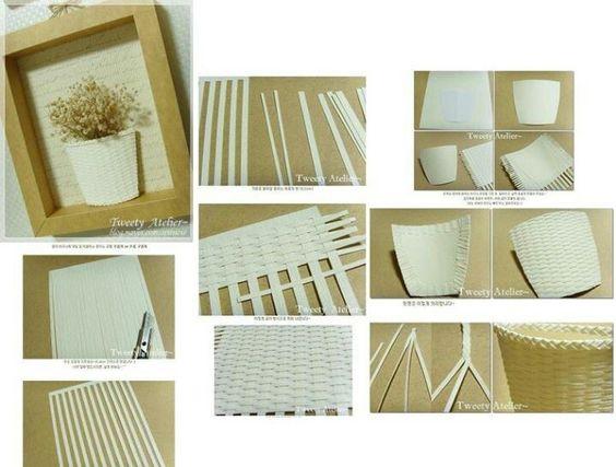 Quadros em 3d, a cestinha é de papel entrelaçadas = Frames in 3d, the basket is interwoven paper