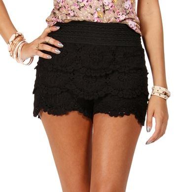 Black Crochet Lace Shorts. Loving these shorts, want them in every color! Look so comfy too!
