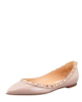 Rockstud Patent Ballerina Flat, Nude  by Valentino at Neiman Marcus.