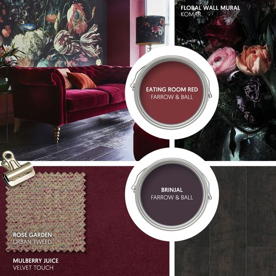 Monday Moodboard - Create some drama with rich berry tones in sumptuous velvet. Add oversized florals - this mural is stunning - and dark accessories for a striking interior theme... #theloungeco #moodboard #interiormoodboard #paintswatches #wallpaper #interiordesign #lounge #loungedecor #livingroomdecor #berrytones #darkinterior #dramatic #darkdecor #velvetsofa #interiorinspiration