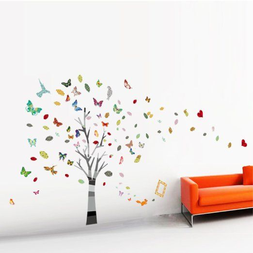 walplus autocollant d coratif mural pour cr che et chambre d 39 enfant arbre g ant avec papillons. Black Bedroom Furniture Sets. Home Design Ideas
