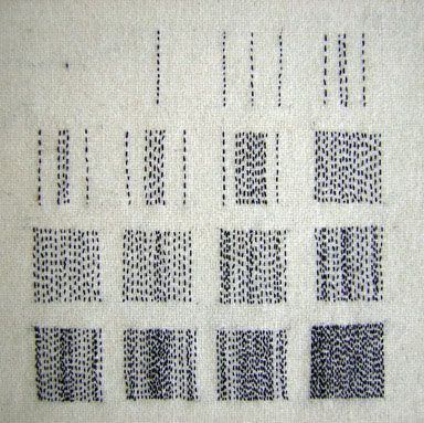 roanna wells- love the complexity of the simple marks she makes on cloth. Very effective but on a time scale, time runs away.