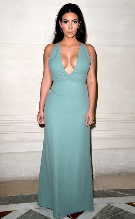 Kim Flaunts Major Cleavage in Blue Dress at Valentino Fashion Show ...