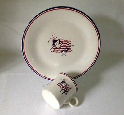 Fiesta® Flag & Stars Dinner Plate and ring handle Mug with Red White & Blue decal ~ Homer Laughlin China  | WorthPoint