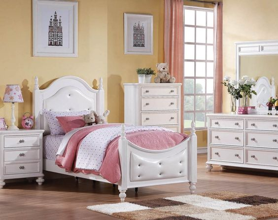 Athena White Wood Master Bedroom Set Bed And all Bedrooms