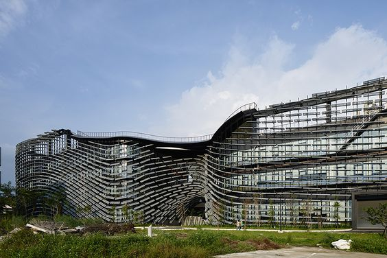 noiz architects clads innovation campus in taiwan to resemble swimming fish