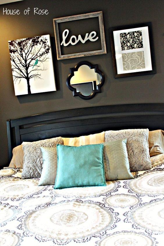 Elegant Bedroom Wall Decor : Elegant black wall bedroom designs home decorations