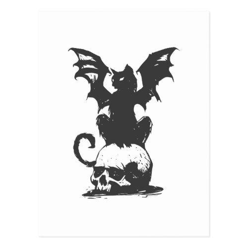 Cat With Bat Wings Postcard Zazzle Com Black Cat Tattoos Spooky Tattoos Scary Tattoos