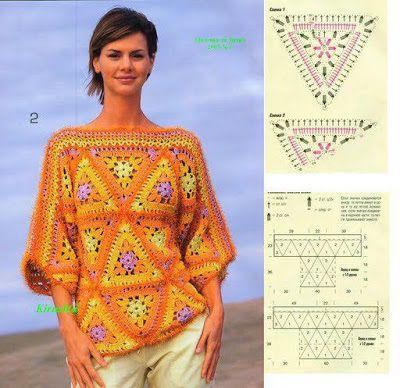 Dy Crochê!: Mais blusas em crochê com gráfico!