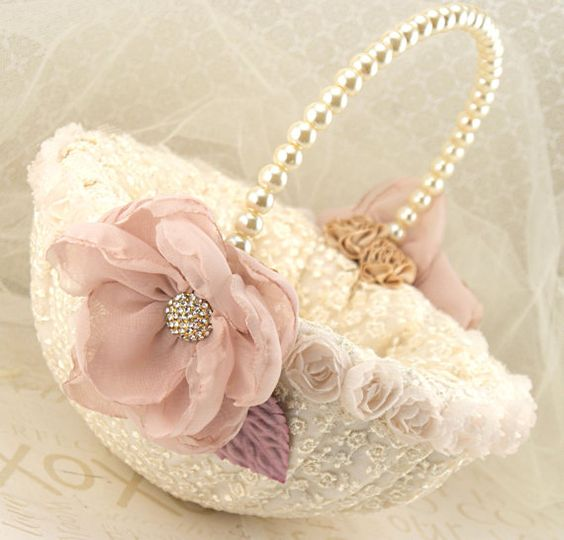 Flower Girl Basket Bridal Basket in Ivory Blush Pink, Gold, Lilac and Champagne- Vintage Touch via Etsy