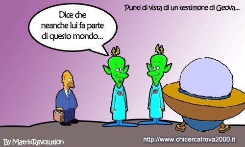 Cosa accadrebbe se un Testimone di Geova incontrasse degli alieni? Ve lo dico io... http://www.chicercatrova2000.it/cartoline/send.phtml?pic=1333&cat=36