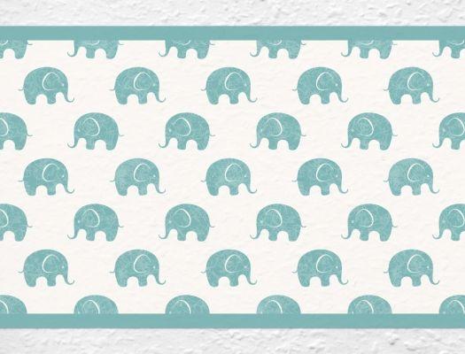 Safari Elefanten Bordüre im Kinderzimmer