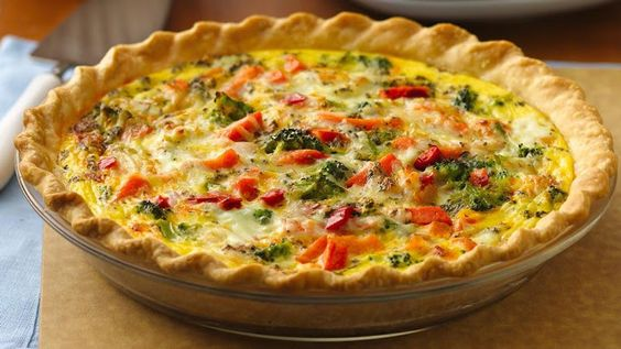 Italian Pepperoni-Vegetable Quiche Recipe Breakfast and Brunch, Main Dishes with refrigerated piecrusts, frozen broccoli, shredded mozzarella cheese, tomatoes, pepperoni slices, eggs, milk, italian seasoning