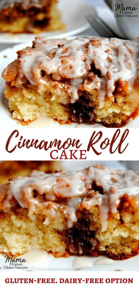 Do you miss cinnamon rolls and cinnamon buns since going gluten-free? Now you don't have to! This is not your average cinnamon cake. This gluten-free cinnamon roll cake has both the texture and the taste of a gooey cinnamon roll. Cinnamon rolls are not just for breakfast anymore. Dairy-free option. Recipe from mamaknowsglutenfree.com #glutenfreecinnamonrolls #glutenfreecinnamonrollcake #glutenfreecake #glutenfreerecipe #dairyfree