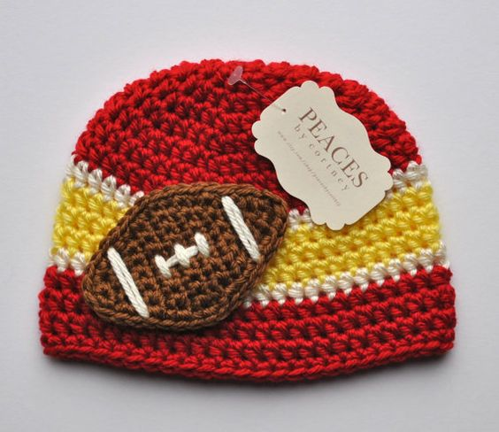Football Beanie  Red White & Yellow Baby by peacesbycortney