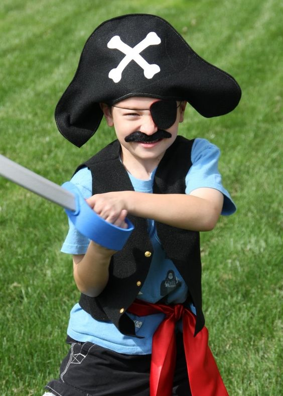Birthday Party Pack of 8 handmade pirate costumes including captains vest, captains hat, eyepatch. $150.00, via Etsy.