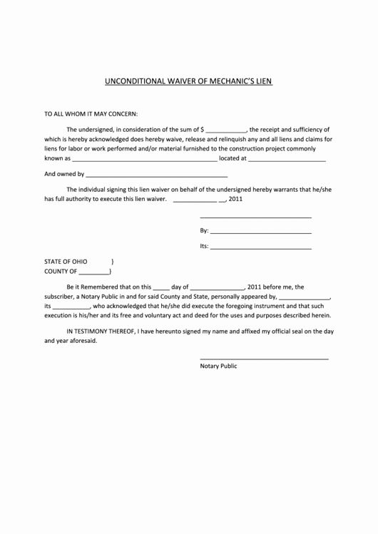 Lien Waiver Form Template Beautiful Unconditional Waiver Mechanics Lien Form Printable Pdf Templates School Newsletter Template Free Order Form Template