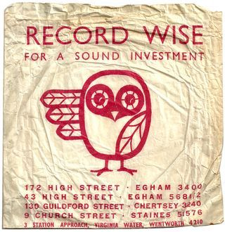 brilliant owl logo on this Record Wise (for a sound investment) paper shopping bag