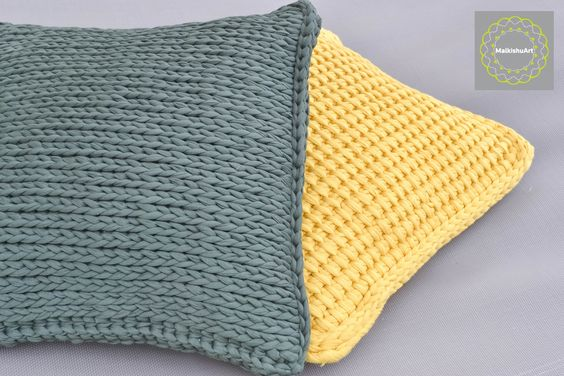 elegant  T-Shirt yarn-Trapillo tunisian crochet pillows for the living room