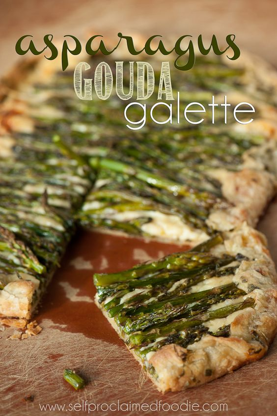 Asparagus Gouda Galette with an herbed butter crust is an amazing appetizer or can be served with poached eggs for breakfast. {Self Proclaimed Foodie}