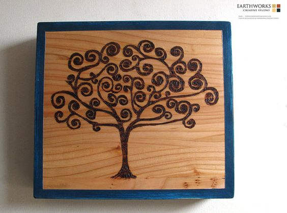 Tree of life wall hanging pyrography by Earthworkscreative on Etsy