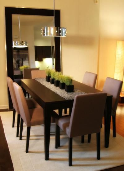 25 elegant dining table centerpiece ideas centerpieces for Dining room mirror ideas