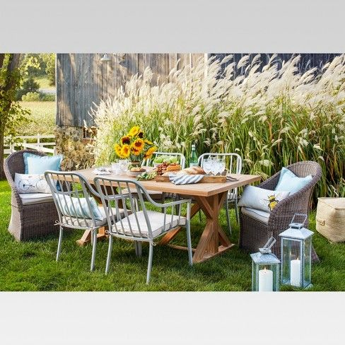Morie Farmhouse Wood Outdoor Dining Table Threshold Target